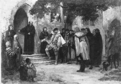 Herzog Christoph von Württemberg besichtigt ein zur Schule umgewandeltes Kloster