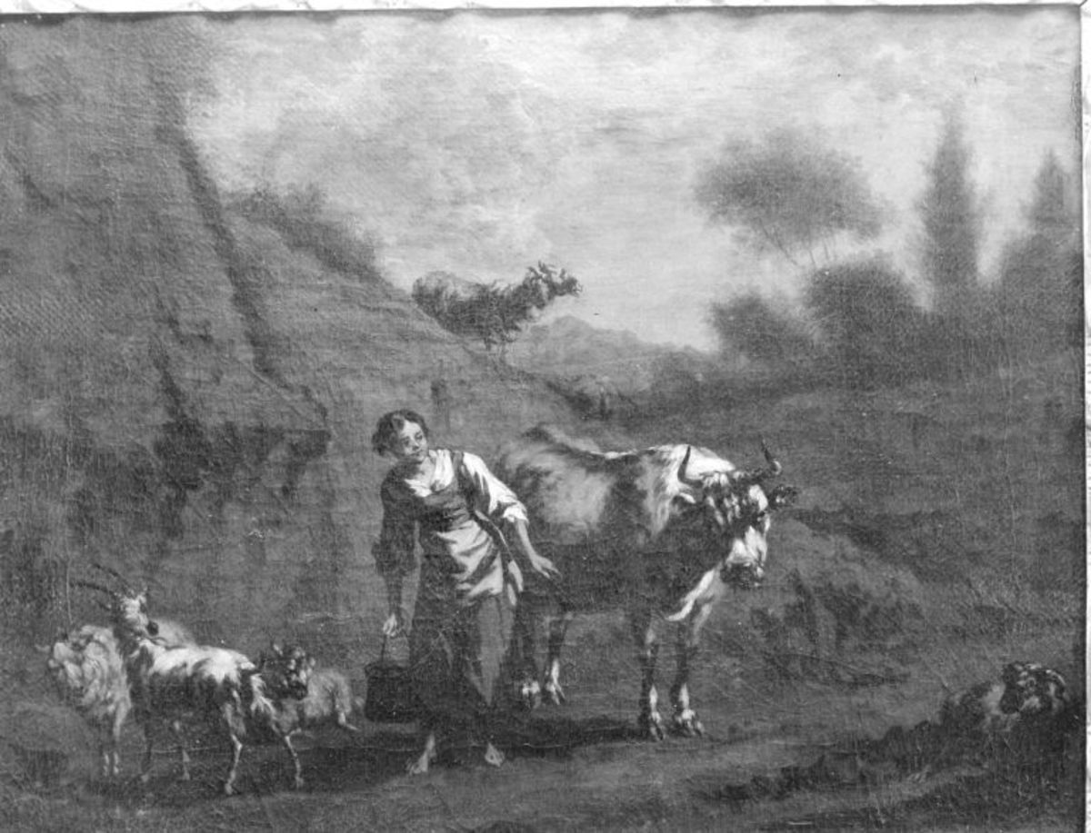 Landschaft mit Vieh und Hirtin