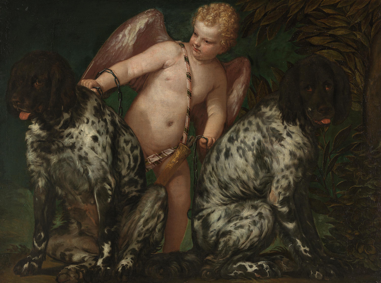 Amor mit zwei Hunden