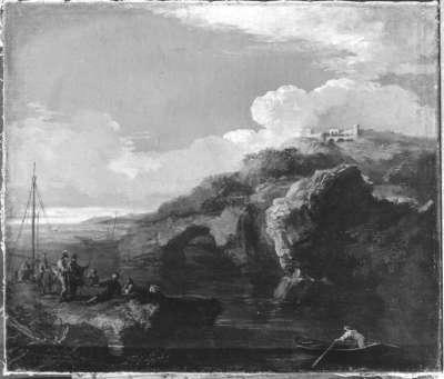 Küstenlandschaft mit Schloss