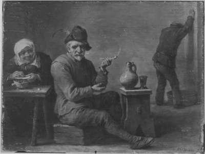 Zwei Bauern und ein altes Weib in der Schenke