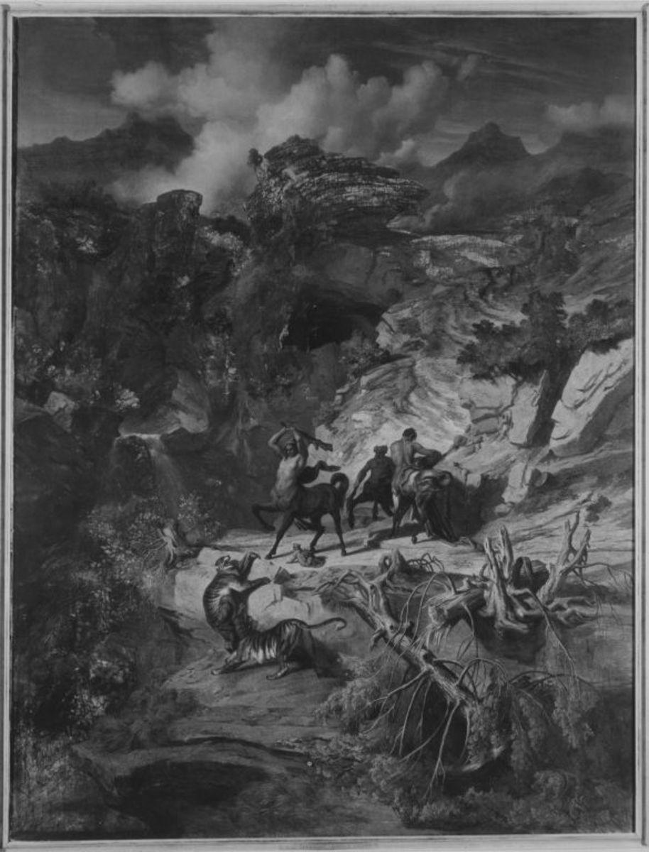 Felsenlandschaft, Kentauren kämpfen mit Leoparden