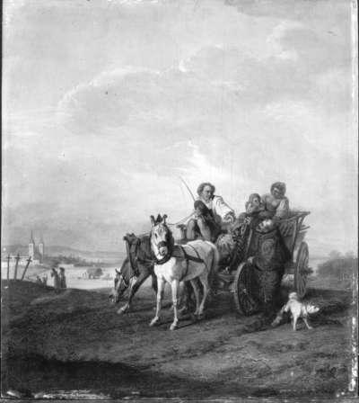 Eine Bauerfamilie zu Wagen mit einem Kapuziner
