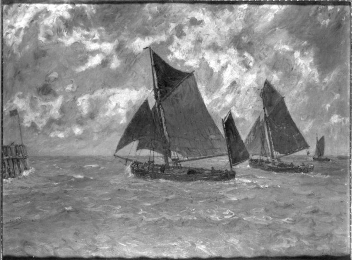 Drei Segelboote auf See (Fischerboote)