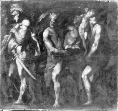 Soldaten mit Beutestücken