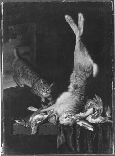 Speisekammer mit Katze und totem Getier