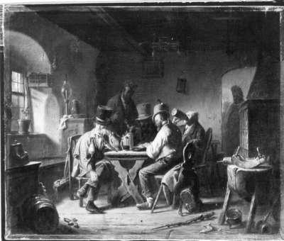 Handwerksburschen in einem Wirtshaus