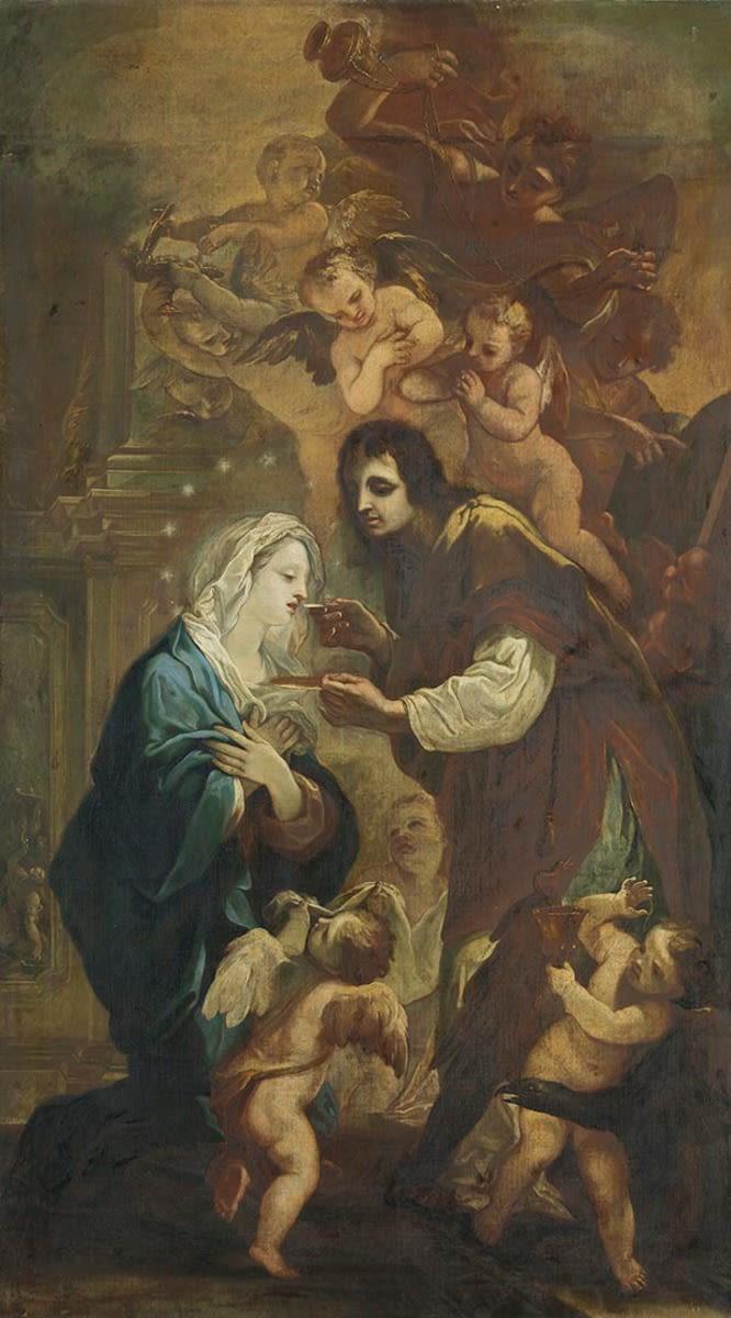 Der hl. Johannes Evangelist reicht Maria die Kommunion