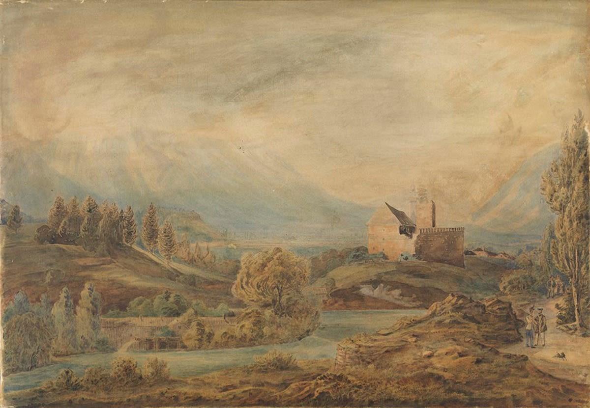 Alpenlandschaft mit Burg