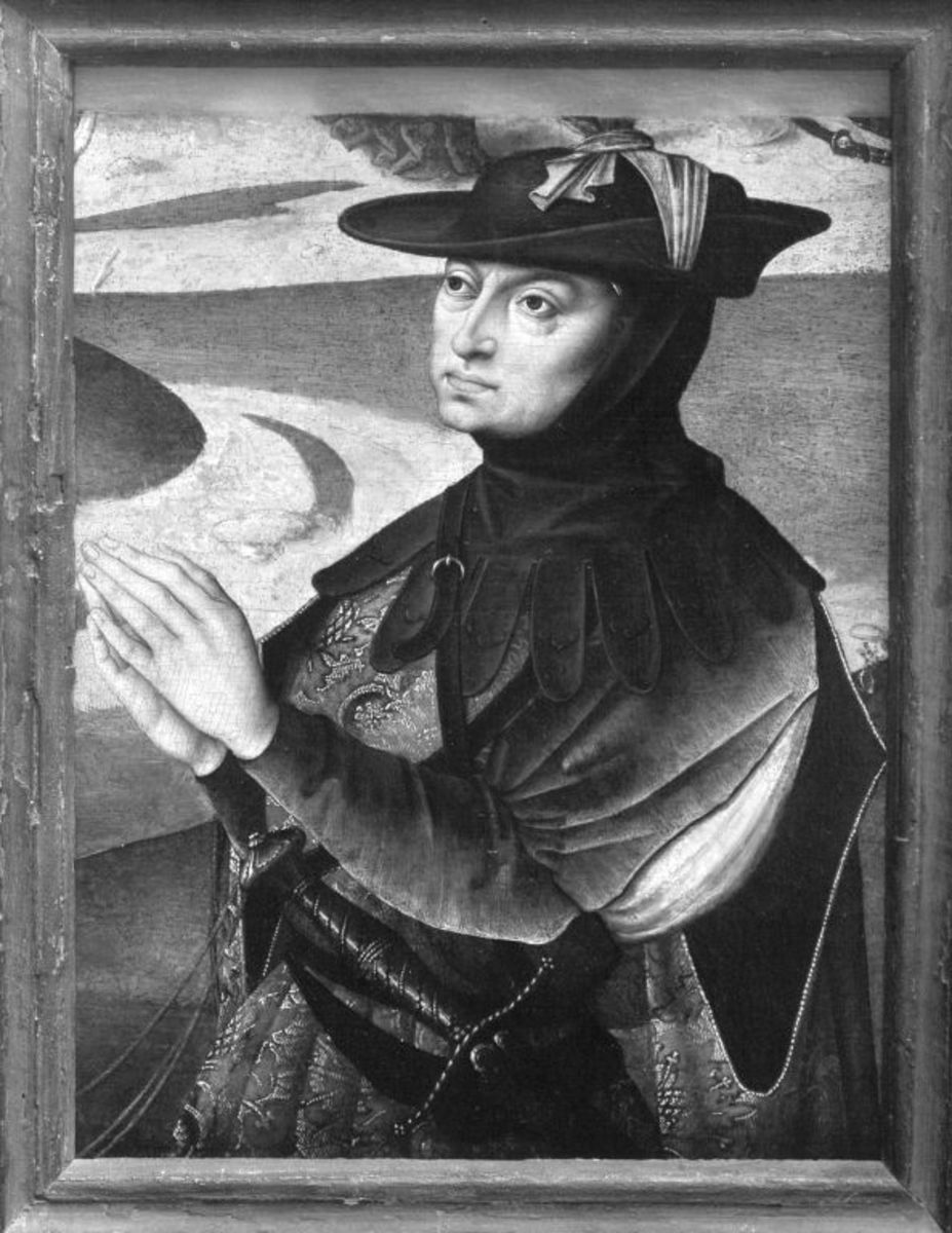 Betender Mann (Stifter im Jagdkleid, hl. Hubertus?)