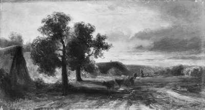 Zwei Bauernhäuser unter Bäumen mit vorbeiziehender Rinderherde