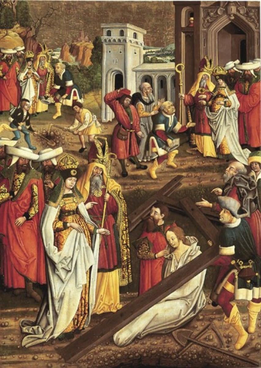 Flügel eines Kreuzaltares: Kreuzauffindung durch Kaiserin Helena (Ehemals Rückseite: Inv.-Nr. 5366)
