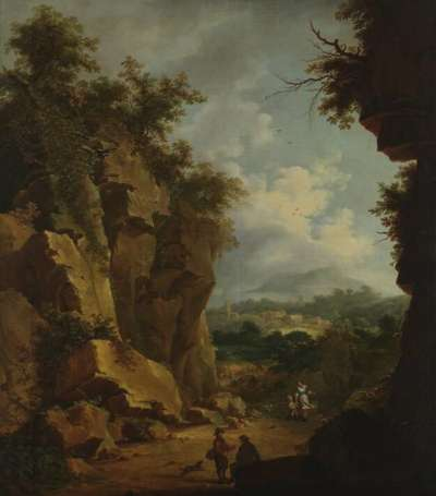 Gebirgslandschaft (Hohlweg zwischen Felswänden)