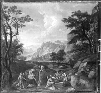 Abendlandschaft mit Verkauf des ägyptischen Joseph