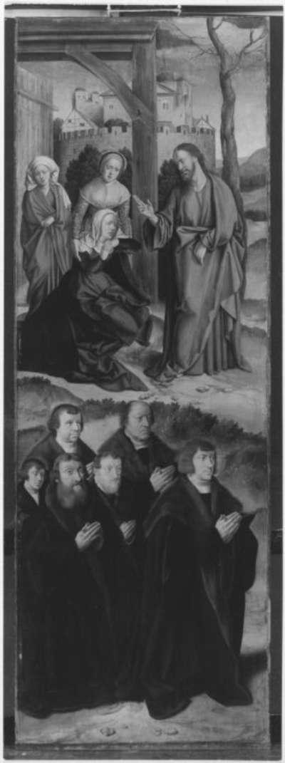 Flügelaltar: Abschied Christi von Maria und sechs Stifter Rückseite: Marmorimitation