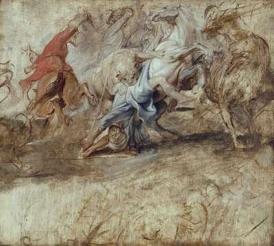 Löwenjagd (Ölskizze) Rückseite: Vermählung in Procuratione (Skizze zum Medici-Zyklus)