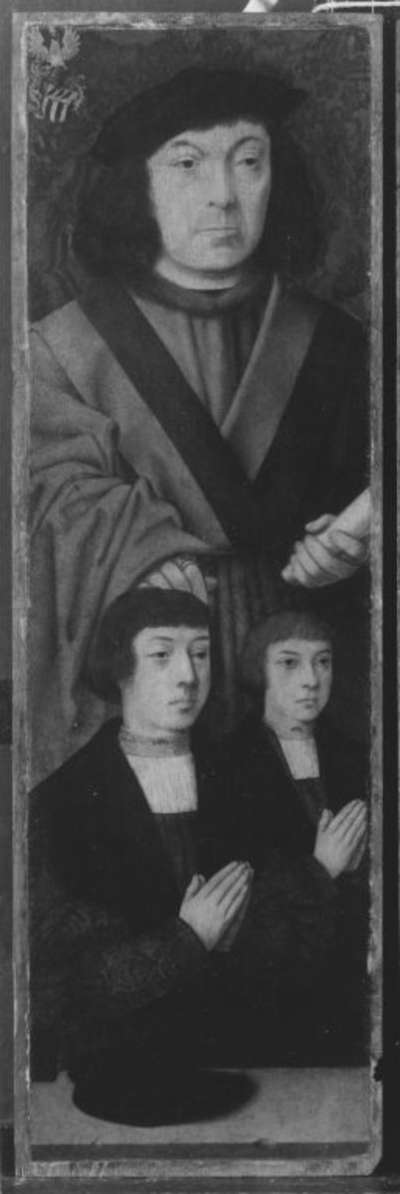 Johannes-Altar(?): Johann von Aich, Bürgermeister von Köln, mit zwei Söhnen Rückseite: Hl. Johannes Ev.