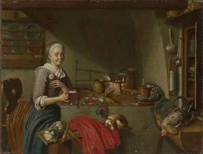 Kücheninterieur mit Biertrinkerin