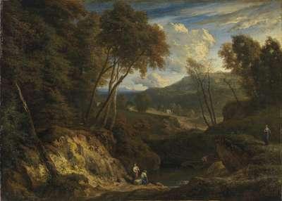 Hügellandschaft mit einem Gewässer