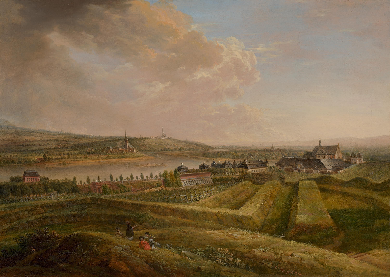 Blick auf das kurmainzische Lustschloss Favorite und die Kartause von Westen