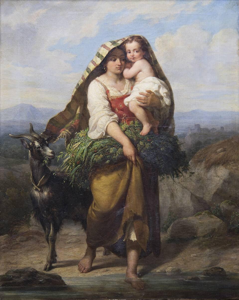 Italienische Landfrau mit Kind und Ziege