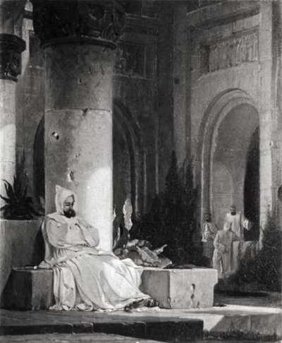 Klosterhof mit meditierendem Mönch