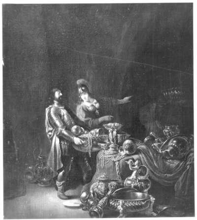 Odysseus und Athene verbergen die trojanische Beute