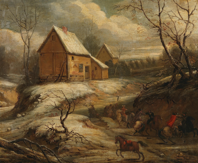 Winterlandschaft mit kämpfenden Reitern