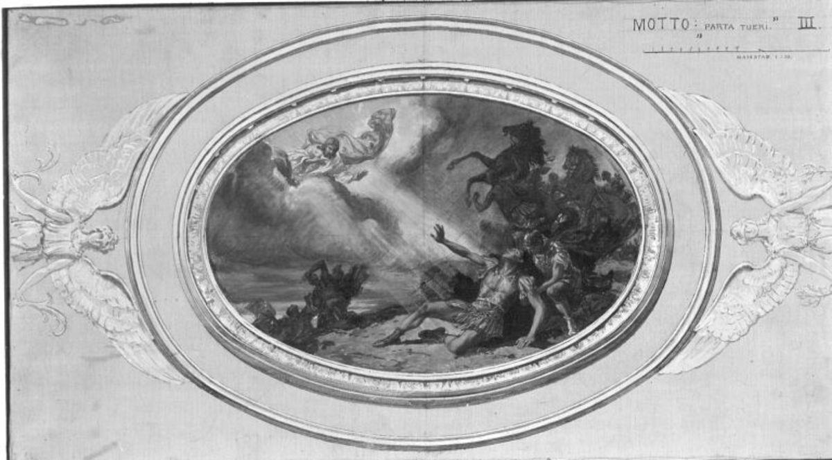 Entwürfe für die Decke der Dreifaltigkeitskirche in Kaufbeuren: Bekehrung des Paulus