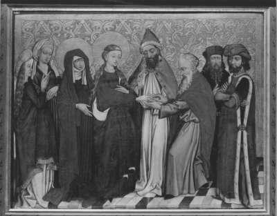 Tafel vom Hochaltar aus St. Mang in Füssen: Vermählung Mariens Rückseite: Auferstehung Christi