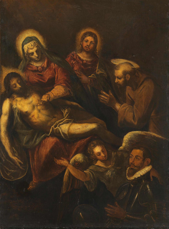 Beweinung Christi mit den hll. Johannes, Franziskus und einem Stifter