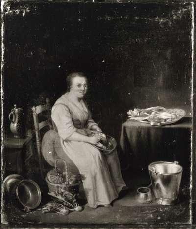 Geflügelrupfende Frau