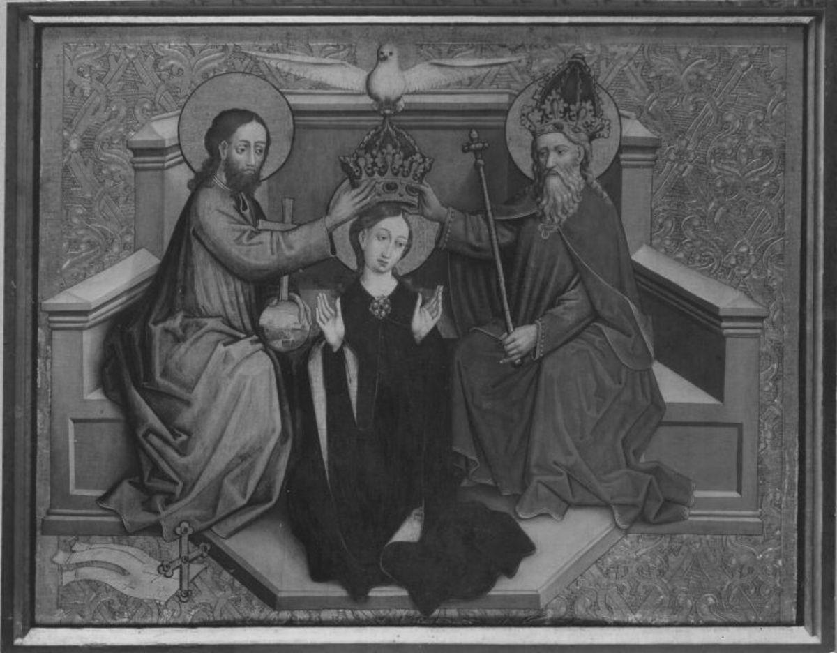 Tafel vom Hochaltar aus St. Mang in Füssen: Krönung Mariae Rückseite: Christus vor Kaiphas