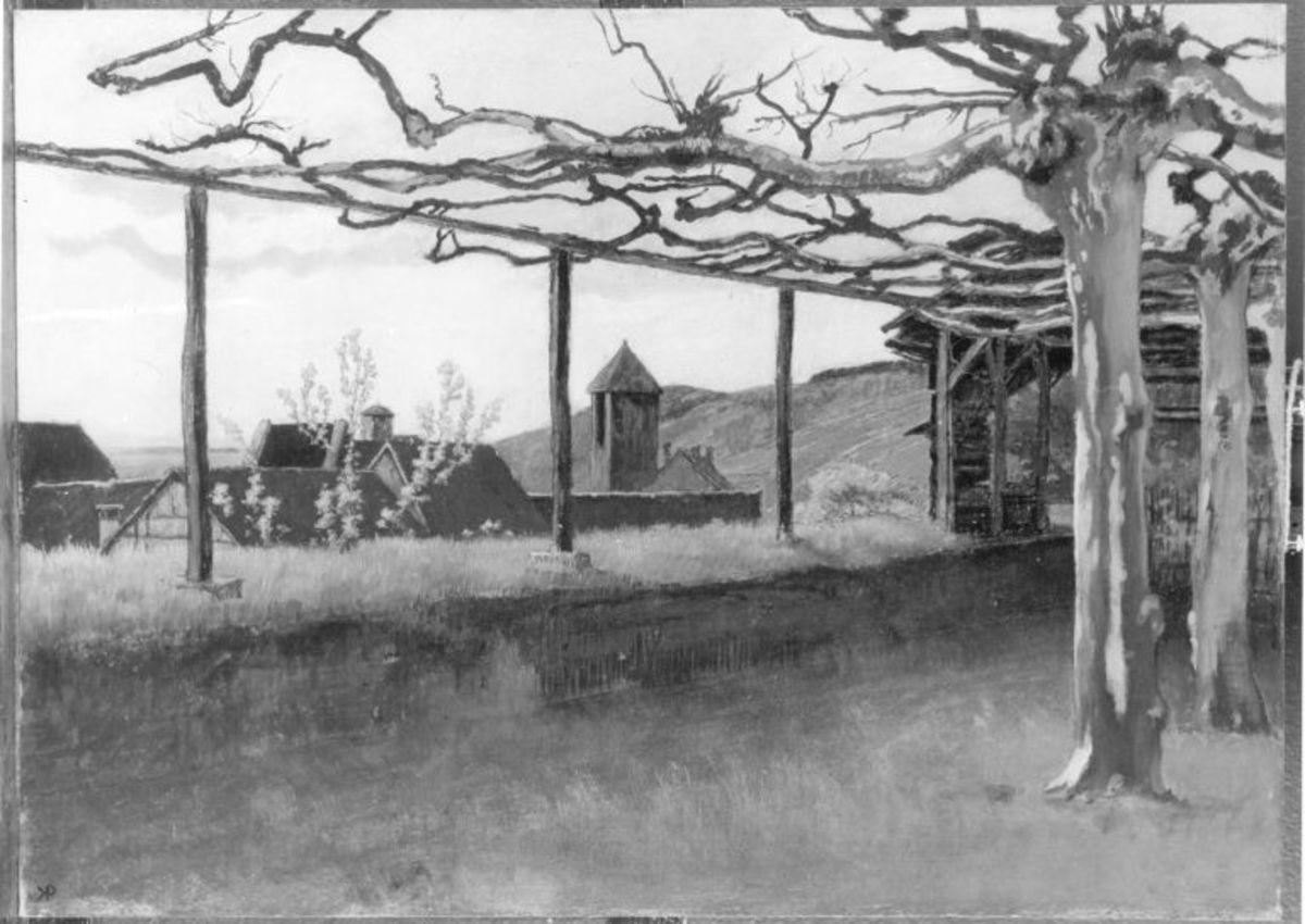 Ansicht von Gelnhausen (Blick von der Stadtmauer auf das innere Holztor)