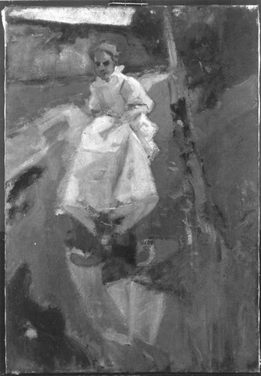 Weißgekleidetes Mädchen am Wasserspiegel