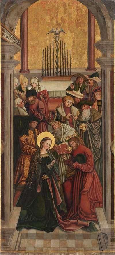 Rechter Altarflügel, Innenseite: Vermählung Mariens Rückseite: Rosenkranz