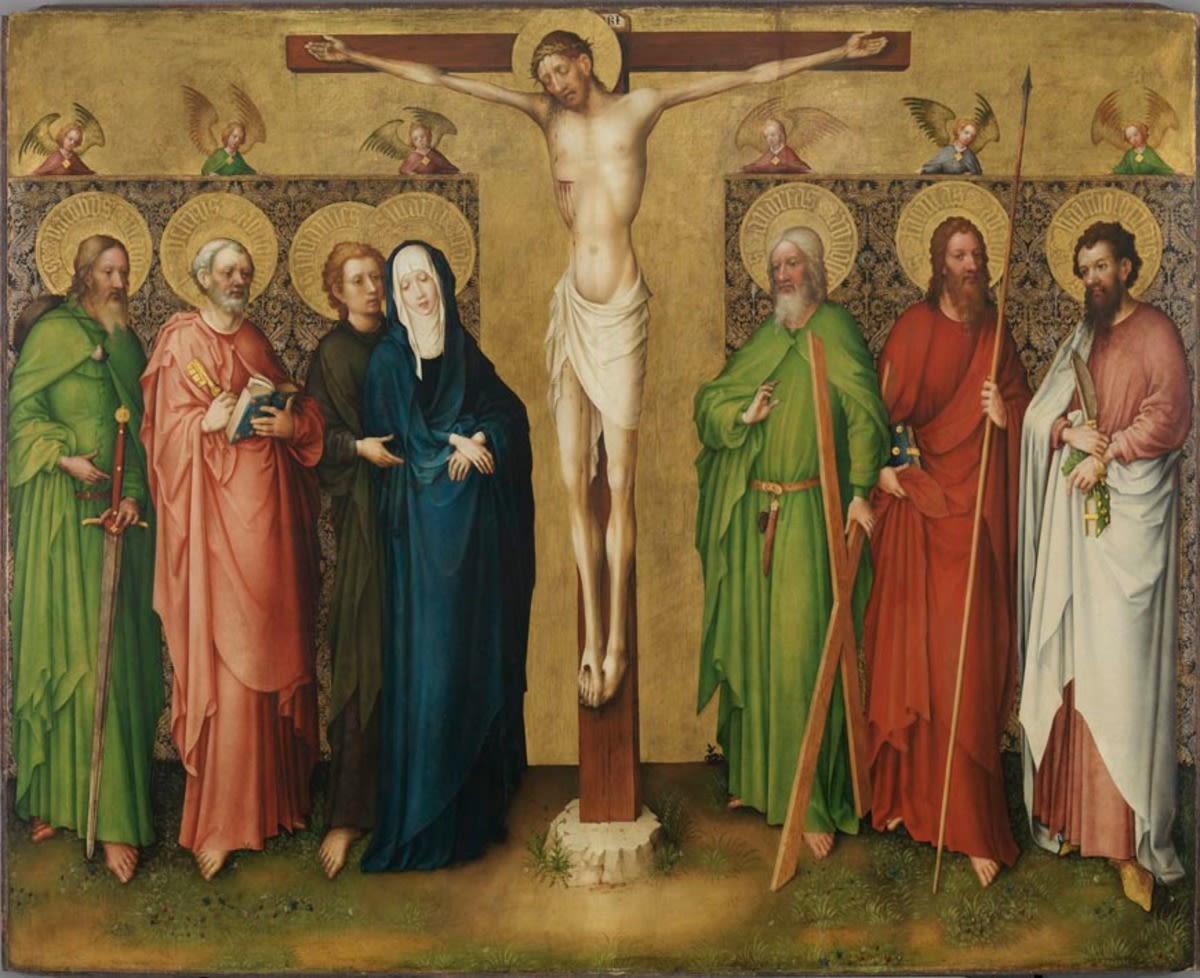 Kreuzigungsaltar: Christus am Kreuz, Maria und die Apostel Jakobus d. Ä., Petrus, Johannes Ev. Andreas, Thomas und Bartholomäus