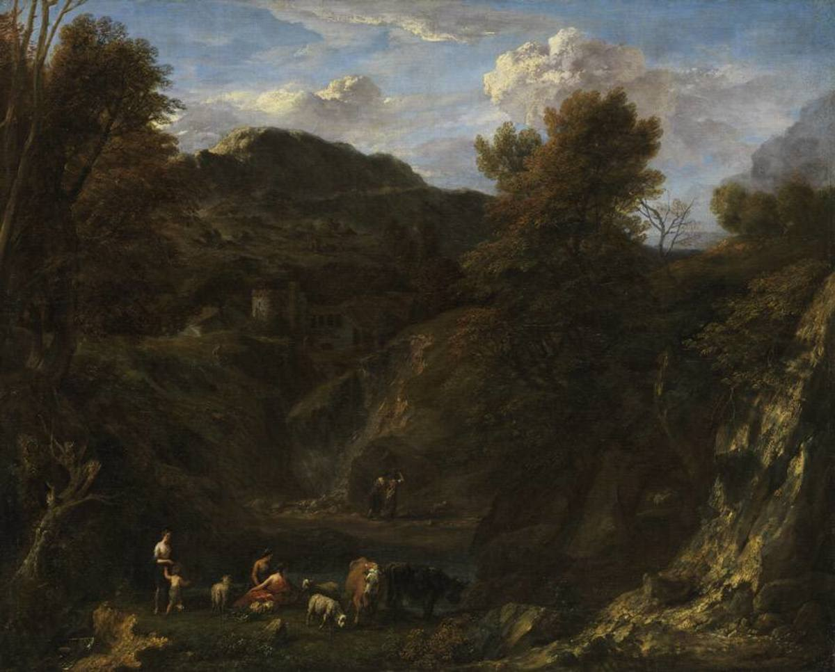 Landschaft mit Hirten und Herde