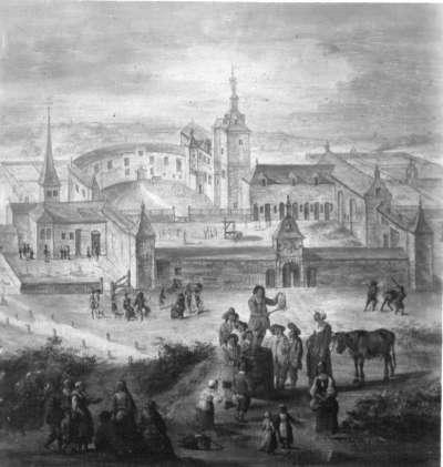 Marktschreier vor einer Kirche