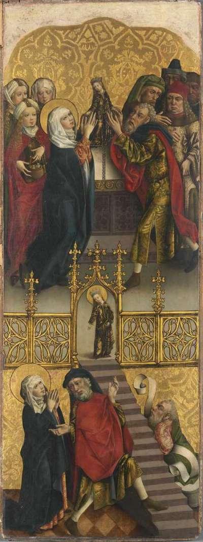 Flügel eines Altares: Tempelgang und Opferung Mariens Rückseite: Engel der Verkündigung