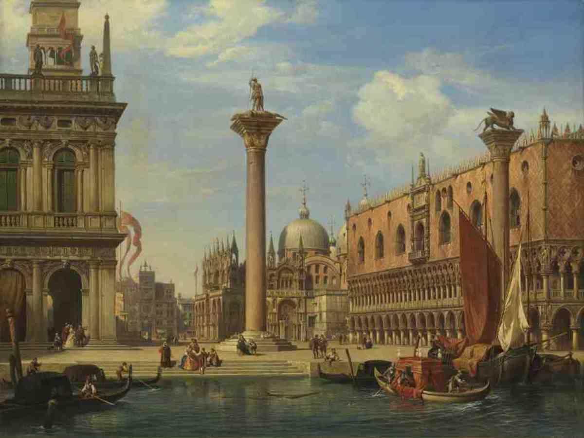Ansicht der Piazzetta und Piazza di San Marco in Venedig