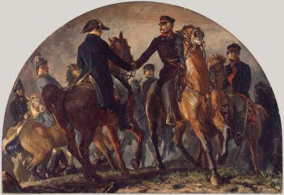 Blücher und Wellington auf dem Schlachtfeld von Belle-Alliance