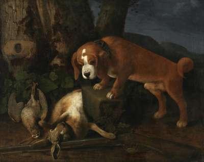 Stehender Hund mit Jagdbeute