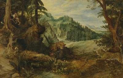 Landschaft mit kämpfenden Tieren