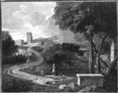 Arkadische Landschaft mit Stadt