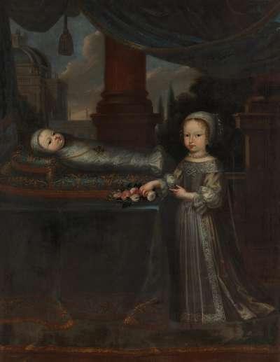 Bildnis einer kleinen Prinzessin und eines Wickelkindes (wohl Prinzessin Violante Beatrix und Prinz Joseph Clemens von Bayern)