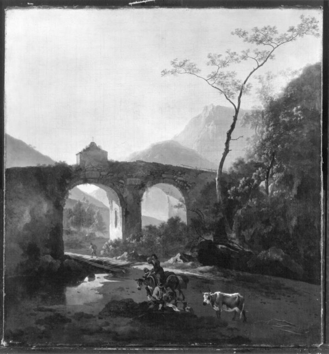 Italienische Landschaft mit Viadukt