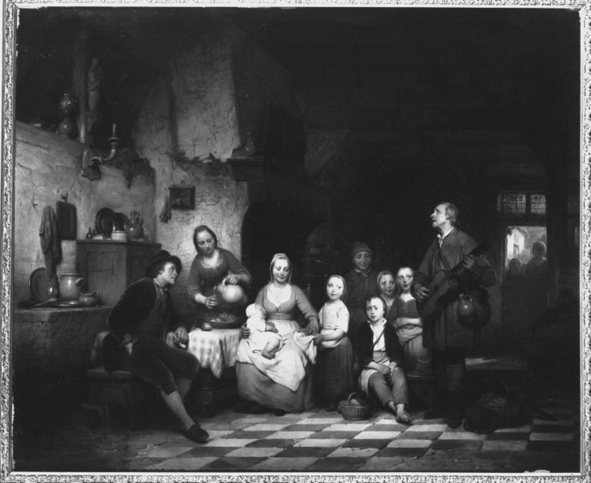 Ein Bettelmusikant bei einer niederländischen Bauernfamilie