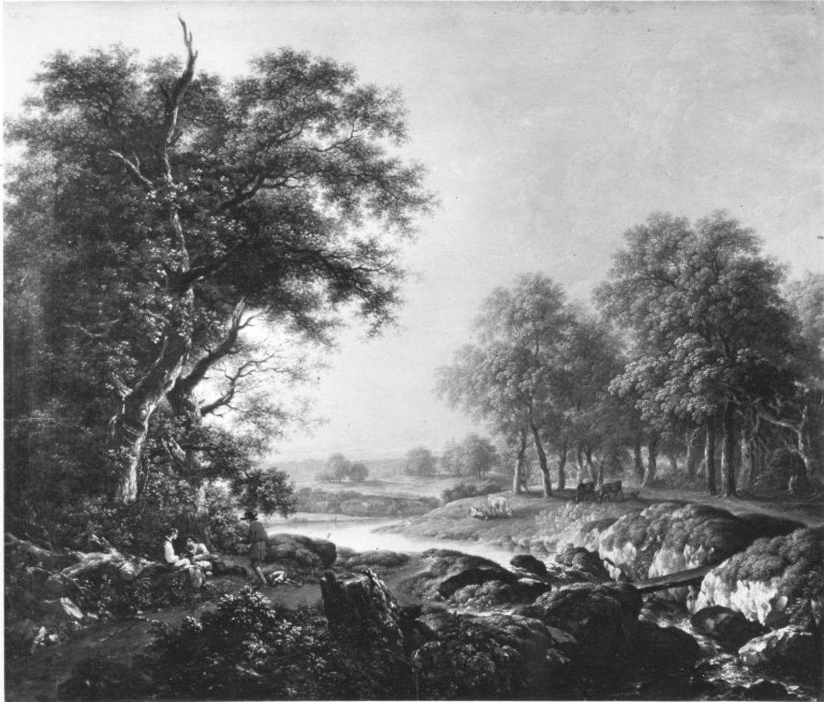 Landschaft mit Hirten und Rindern an einem Fluss