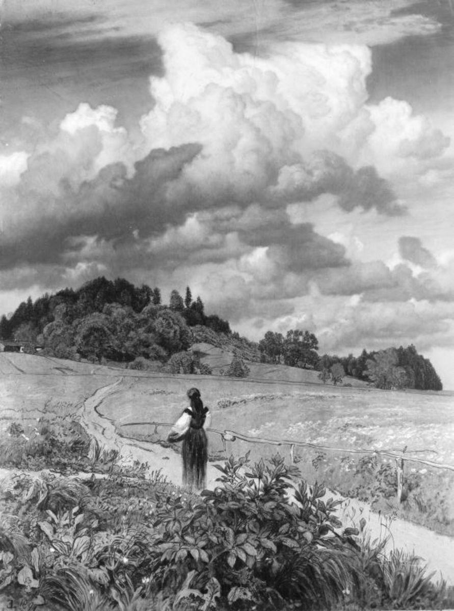 Bauernmädchen auf einem Feldweg (Naturstudie)